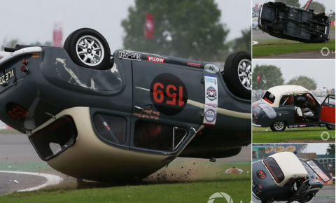 Ex-AC/DC frontman Brian Johnson Crashes Race Car at Silverstone Classic